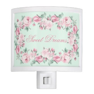 Personalized night light roses floral Sweet Dreams