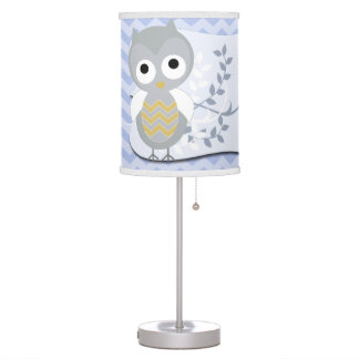 Personalized Night Owl Gray Chevron Nursery Lamp