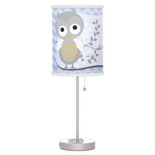 Personalized Night Owl Gray Chevron Nursery Lamp