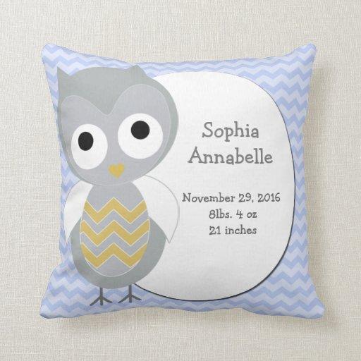 Personalized Night Owl Gray Chevron Pillow