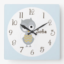 Personalized Night Owl Gray Nursery Clock