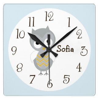 Personalized Night Owl Gray Nursery Clock