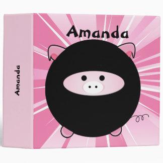 Personalized Ninja Pig on Pink 3 Ring Binder