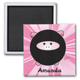 Personalized Ninja Pig on Pink Magnet