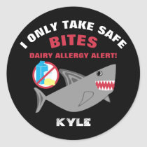 Personalized No Dairy Allergy Alert Shark Labels