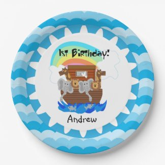 Personalized Noah's Ark 1st Birthday Paper Plates 9 Inch Paper Plate