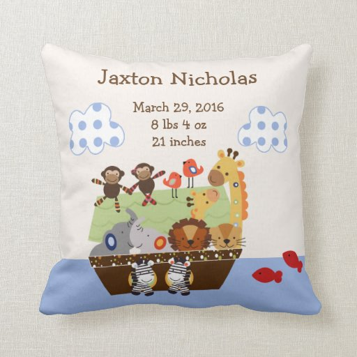 Personalized Noah's Ark Animals Pillow Keepsake