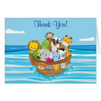Personalized Noah's Ark Theme with Baby Animals Card
