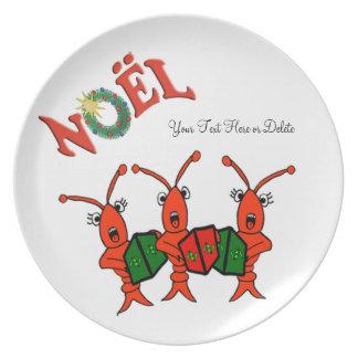 Personalized Noel Caroling Crawfish Lobster Dinner Plate