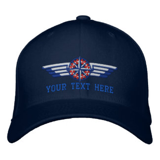 Personalized Northern Star Compass Pilot Wings Embroidered Baseball Hat