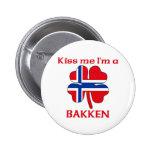 Personalized Norwegian Kiss Me I'm Bakken Pinback Button
