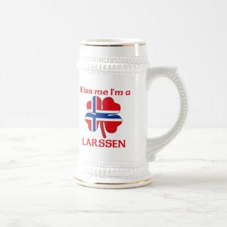 Personalized Norwegian Kiss Me I'm Larssen 18 Oz Beer Stein