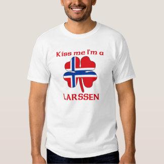 Personalized Norwegian Kiss Me I'm Larssen T-shirt