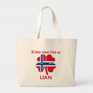 Personalized Norwegian Kiss Me I'm Lian Tote Bag