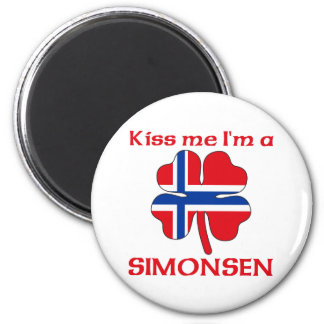 Personalized Norwegian Kiss Me I'm Simonsen 2 Inch Round Magnet
