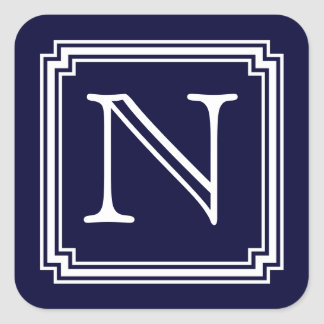 Personalized Notched Square Frame Initial, Navy Square Sticker