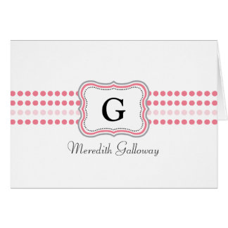 Personalized Note Card - pink and gray