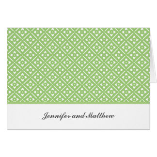 Personalized Note Card with Lotus Square Pattern
