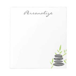 Personalized notepad with zen art pebble stacking