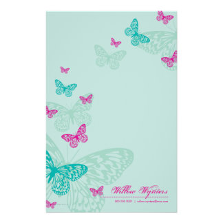 PERSONALIZED NOTEPAPER :: butterflies 5P Customized Stationery