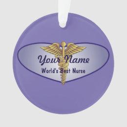 Personalized Nurse Heart Caduceus Ornament