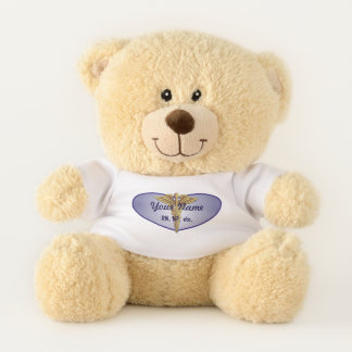 Personalized Nurse Heart Caduceus Teddy Bear
