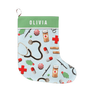 personalized nurse holidays large christmas stocking