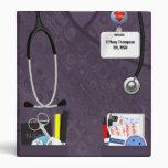 Personalized Nurse Pockets 1 Inch Purple Scrubs Binder