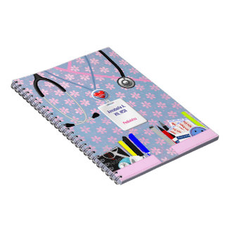 Personalized Nurse Pockets Pink & Lavender Notebook