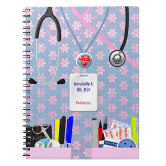 Personalized Nurse Pockets Pink & Lavender Notebook