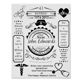 Personalized nurse Retirement Poster medical