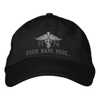 Personalized Nurse RN Your Text Medical Caduceus Embroidered Baseball Cap