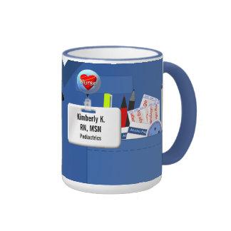 Personalized Nurse Scrubs in Blue Ringer Coffee Mug