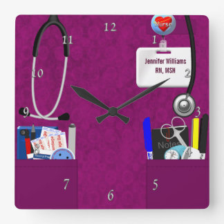 Personalized Nurse Scrubs in Dark Pink Square Wall Clocks