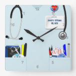 Personalized Nurse Scrubs in Light Blue Square Wall Clocks