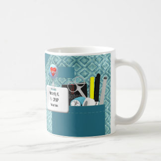 Personalized Nurse Scrubs in Teal Coffee Mug