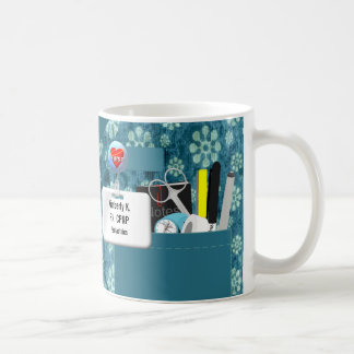 Personalized Nurse Scrubs in Teal Flowers Coffee Mug