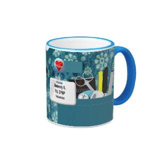 Personalized Nurse Scrubs in Teal Flowers Ringer Coffee Mug