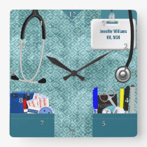 Personalized Nurse Scrubs in Teal Pattern Square Wall Clock