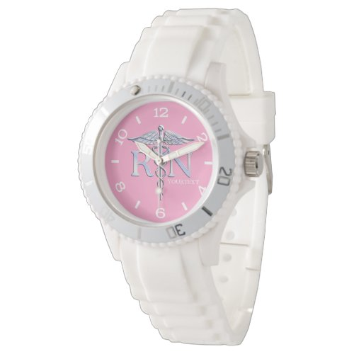 Personalized Nurse Silver Caduceus Pink Dial Wristwatch