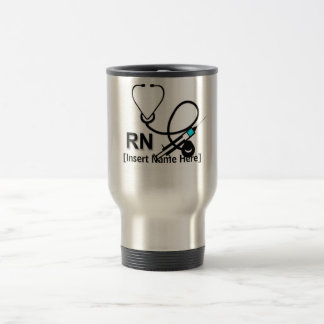 Personalized Nurse with Stethoscope and Heart Travel Mug