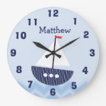Personalized Nursery Nautical Wall Clock