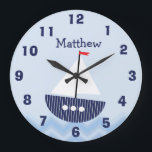 "Personalized Nursery Nautical Wall Clock<br><div class=""desc"">This wall clock features a cute sail boat on a stylized chevron pattern sea.  The background is light blue and number are in a navy blue but can be modified.  This wall clock is suitable for a boy&#39;s nautical theme nursery.</div>"