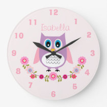 Personalized Nursery Owl Wall Clock