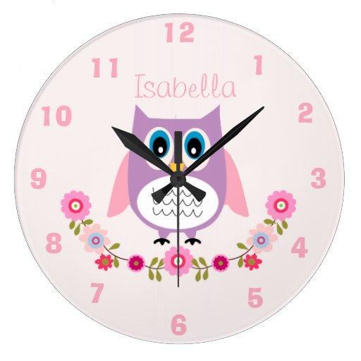 Personalized Nursery Owl Wall Clock