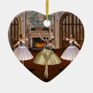 Personalized Nutcracker Ballerina Heart Ornament