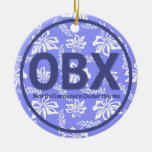 Personalized OBX Outer Banks Floral Ornament