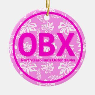 Personalized OBX Outer Banks NC Beach Pink Floral Ceramic Ornament