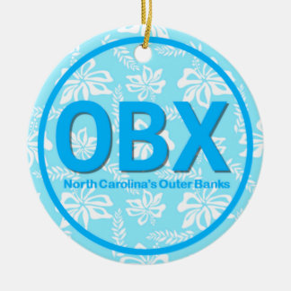 Personalized OBX Outer Banks NC Floral Blue Beach Ceramic Ornament