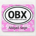"""Personalized OBX Outer Banks Pink Mousepad<br><div class=""""desc"""">Personalized OBX Outer NC Banks Hawaiian Flower Beach Tag Mousepad.</div>"""